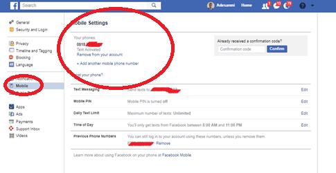 Change Facebook Phone Number